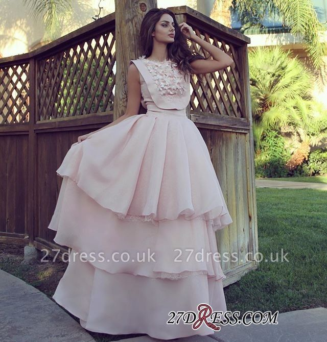 Pink Chiffon Evening Gowns   Prom Dress UK With Layers