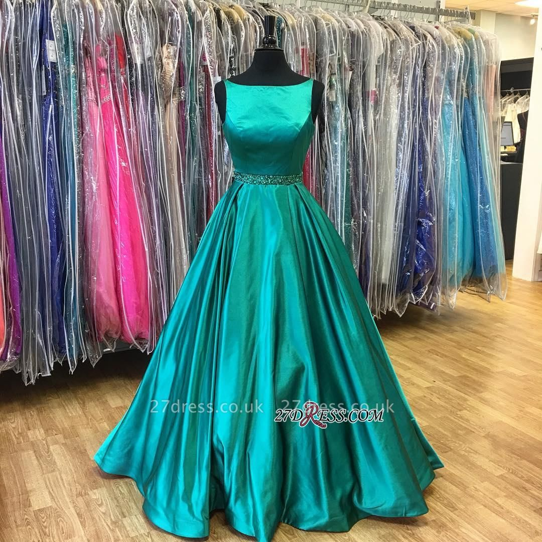 Beadings A-Line Stunning Green Sleeveless Prom Dress UK BA7753