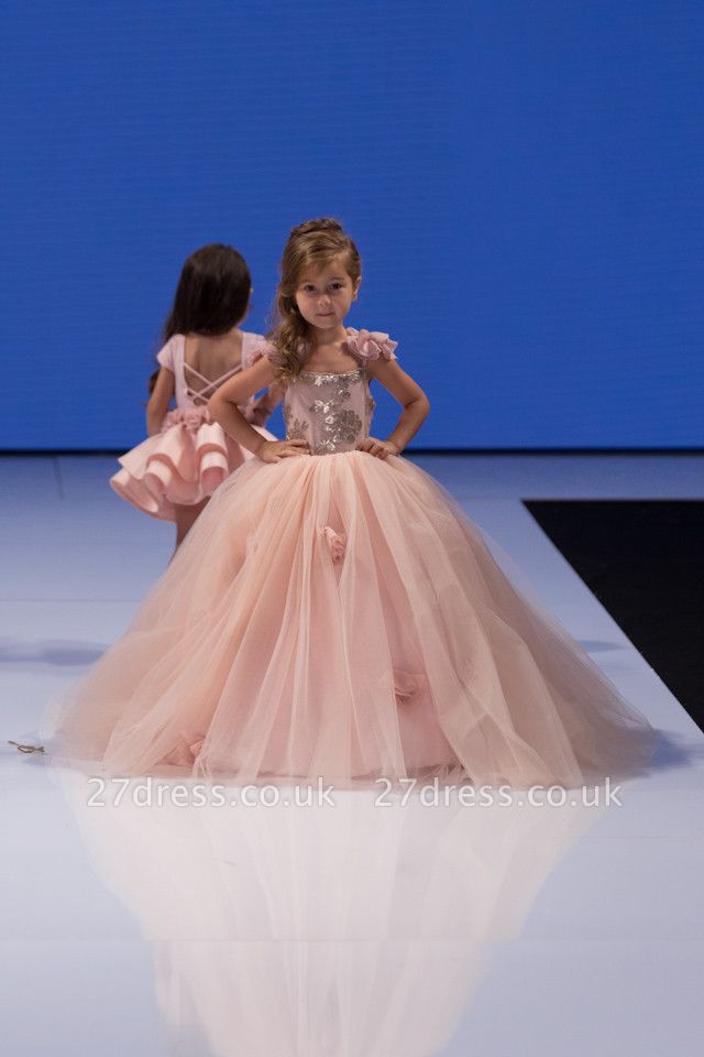 Delicate Pink Tulle Flowers Girl Pageant Dress Sweep Train