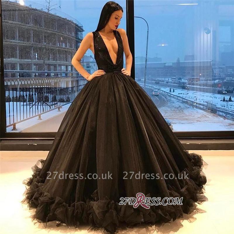 Ruffles Sequins Black Sparkling Puffy Deep-V-Neck Elegant Tulle Sleeveless Evening Dress UK