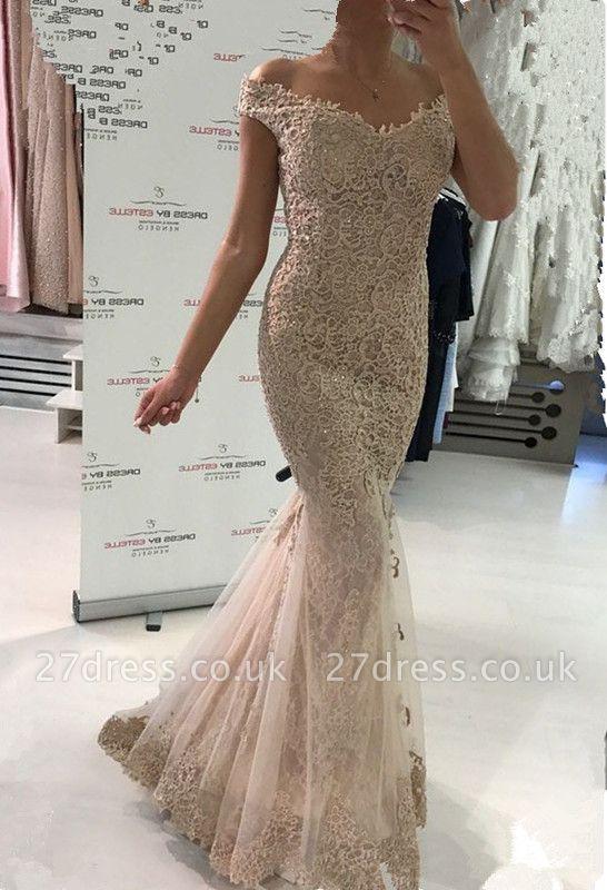 Gorgeous Off-the-Shoulder Evening Dress UK   Lace Mermaid Prom Dress UK