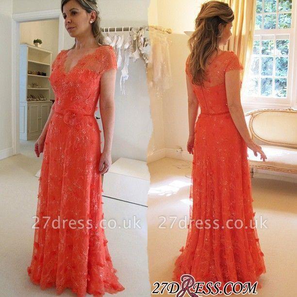 V-neck A-line Modern Short-Sleeve Flower Floor-Length Lace Evening Dress UK