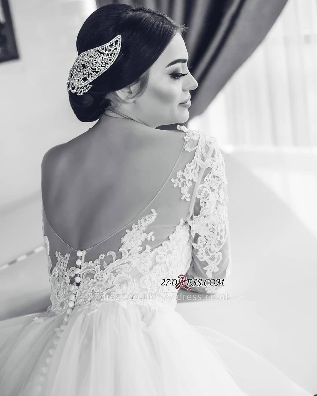 Open-Back Lace-Appliques White Long-Sleeves Wedding Dresses UK