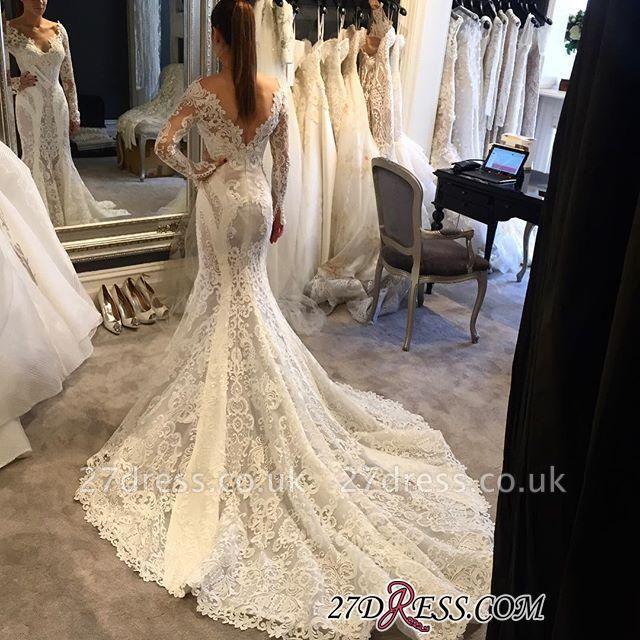 Long-Sleeves Sexy Mermaid Elegant Lace V-Neck Wedding Dress BA4673