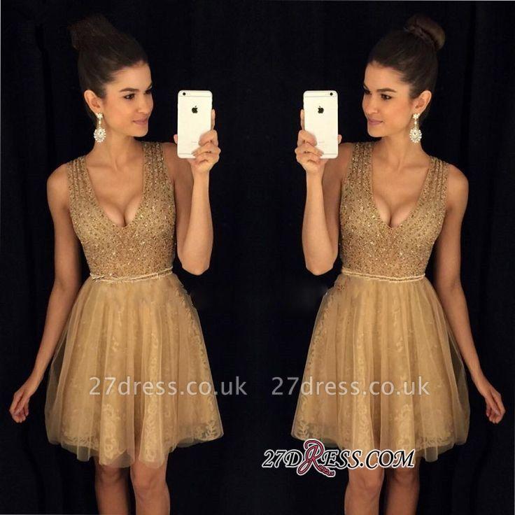 A-Line Short V-Neck Sleeveless Elegant Tulle Prom Dress UKes UK