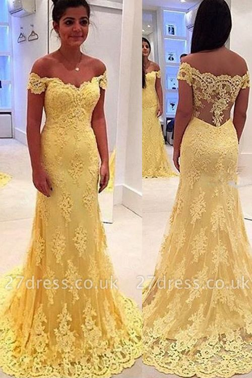 Modern Yellow Lace Appliques Evening Dress UK Mermaid Off-the-shoulder