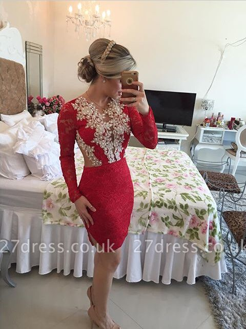 Elegant Long Sleeve Red Cocktail Dress UK Lace beadings Short Prom Gowns