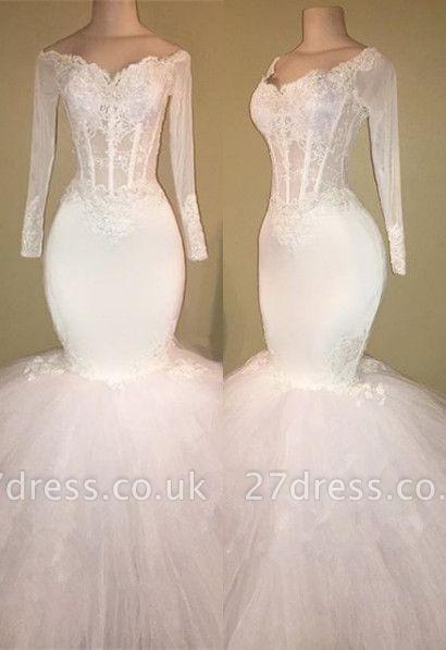 White Long-Sleeve Evening Dress UK | Lace Mermaid Prom Dress UK BA8431