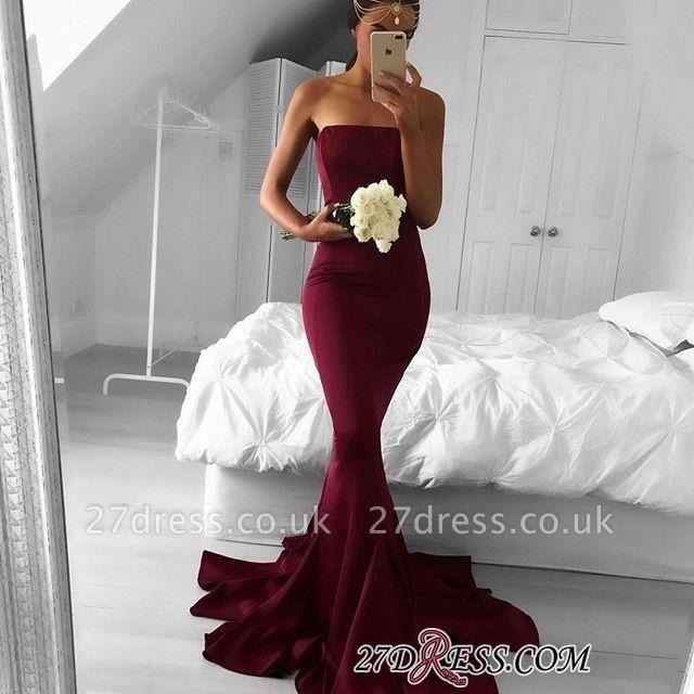 Mermaid Sleeveless Strapless Burgundy Sweep-Train Modern Prom Dress UK BA5124