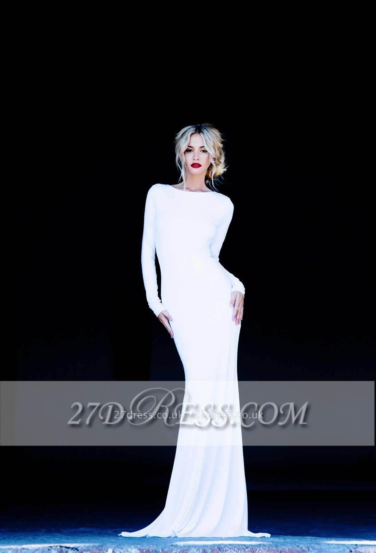 New Prom Dress UKes UK Bateau Long Sleeves Elegant Backless Floor Length White Evening Gowns