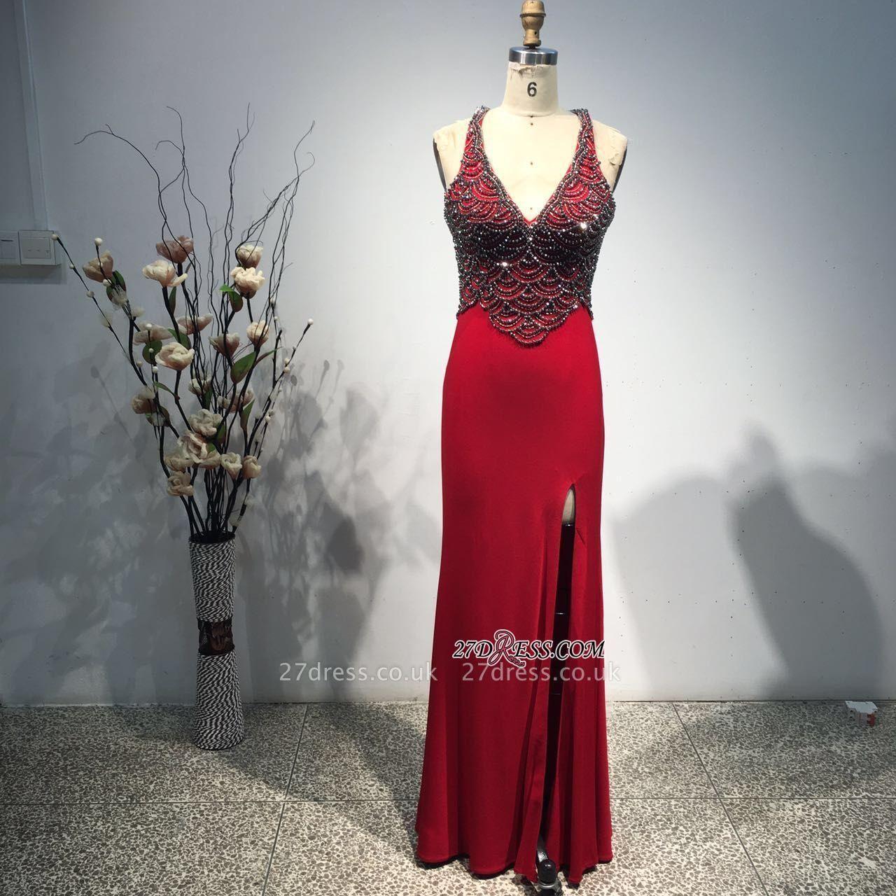 Bodycon Straps Sleeveless Long Beads Front-Split Elegant Prom Dress UK BA8093
