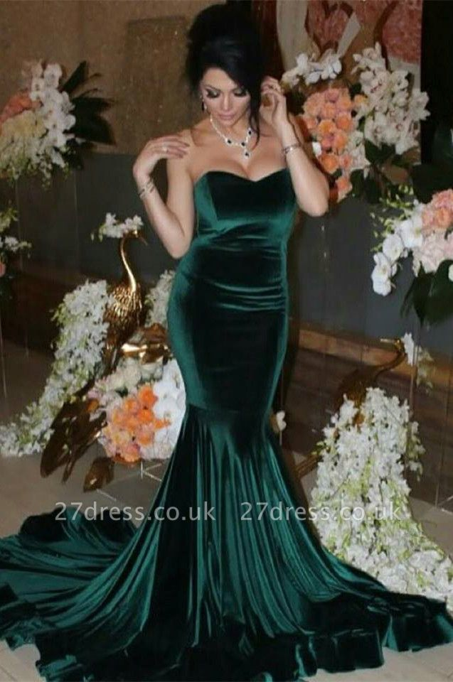 Elegant Mermaid Sweetheart Sleeveless Prom Dress UK Sweep Train