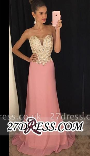 Latest Sleeveless Pink Sheath Chiffon Strapless Beadings Prom Dress UKes UK AP0