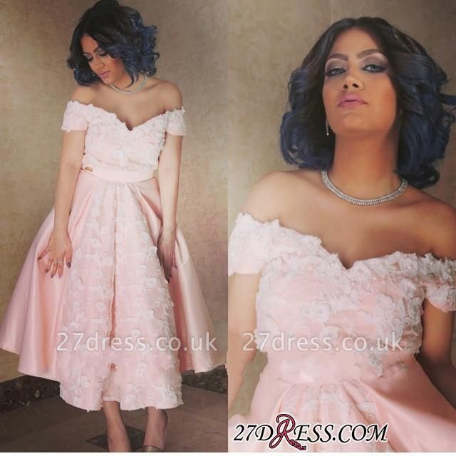 Appliques Sexy A-Line Off-the-Shoulder Pink Prom Dress UK