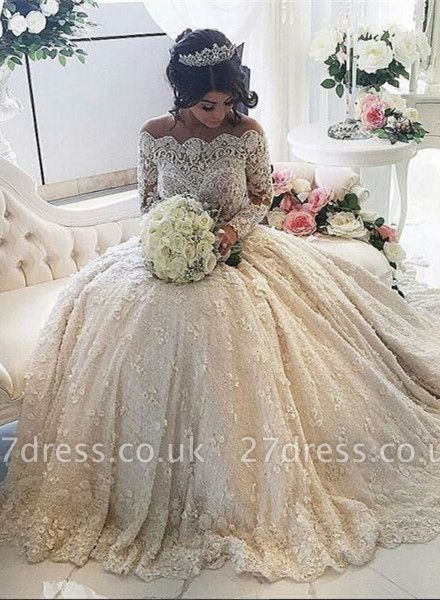 Pretty Lace Long Sleeve Princess Wedding Dresses UK Ball Gown With Appliques