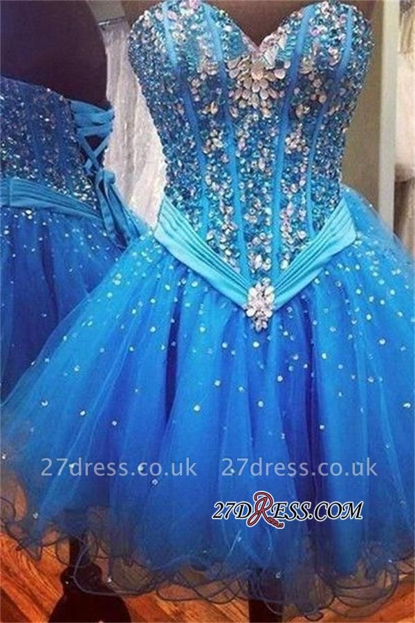 Rhinestones Sweetheart Lace-Up Sequins Organza Sparkly Sexy Blue Homecoming Dress UKes UK
