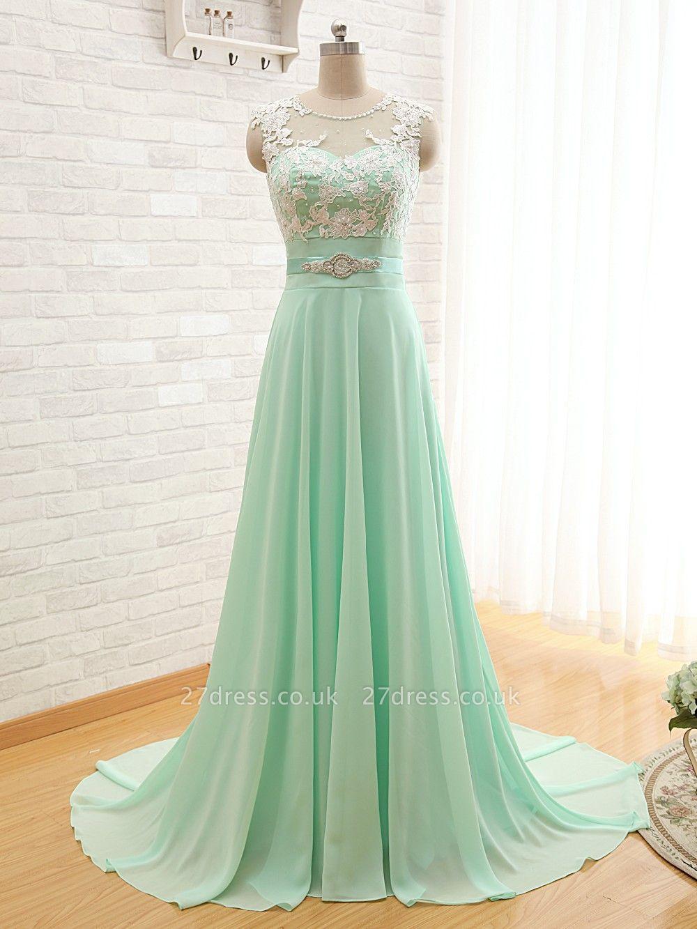 Sexy Chiffon A-line Lace Prom Dress UK Zipper Illusion Cap Sleeve BA6714