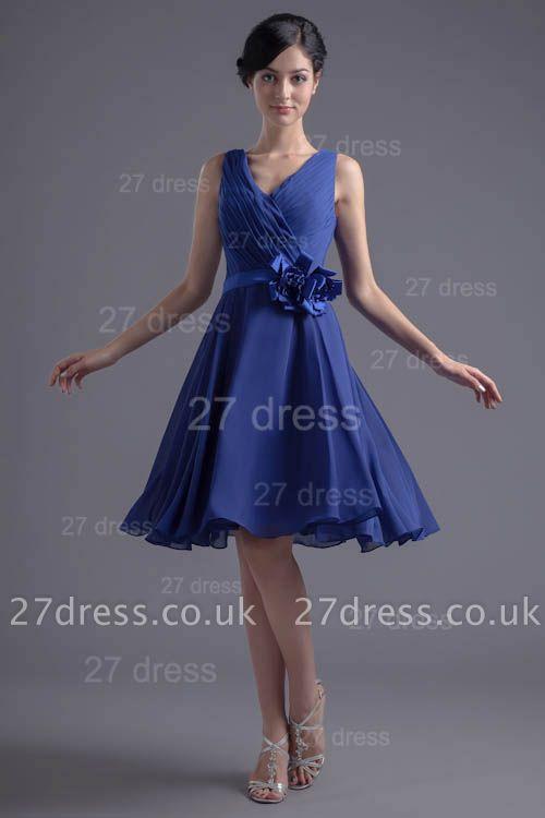Modern Straps Chiffon Short Cocktail Dress UK Flower Zipper