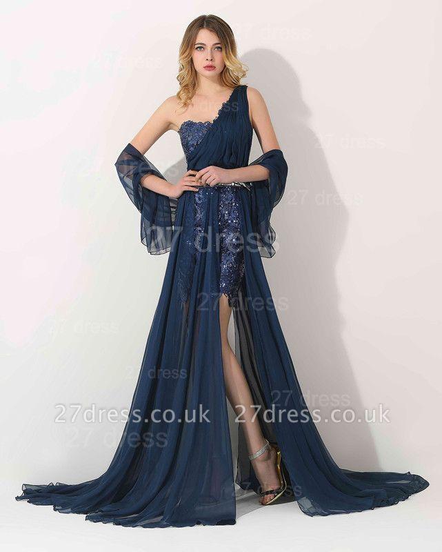 Luxury One Shoulder Lace Appliques Evening Dress UK Long Chiffon