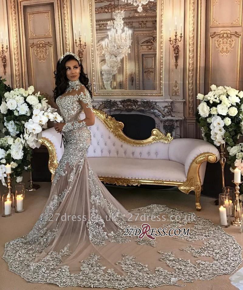 Silver Glamorous Lace Long-Sleeve Sexy Mermaid High-Neck Wedding Dresses UK BH-362