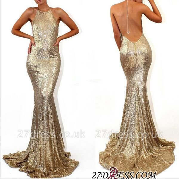 Mermaid Stunning Sequined Halter Sweep-Train Sleeveless Prom Dress UK SP0315