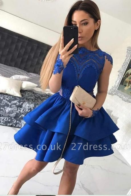 Sexy Royal Blue Long Sleeve Homecoming Dress UK Lace Prom Gowns