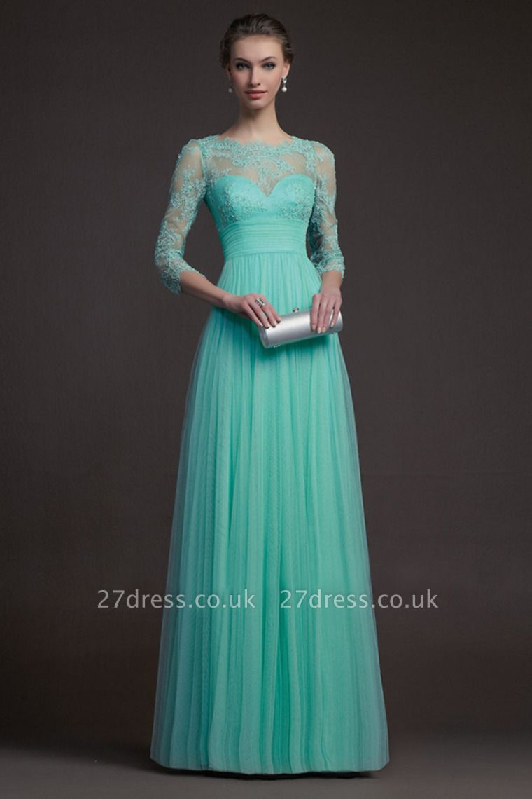 Delicate 3/4-long-sleeve A-line Illusion Tulle Prom Dress UK Appliques