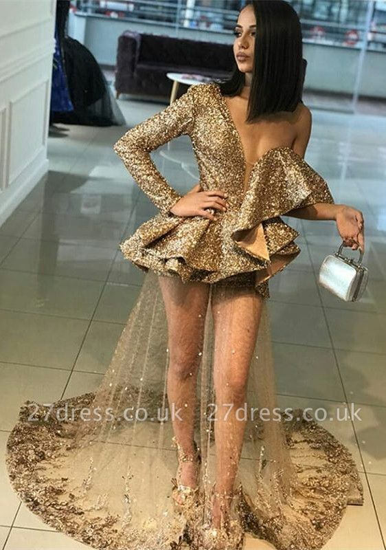 Elegant Gold One Shoulder Ruffles Prom Dress UK | Delicate Evening Gown BA9830