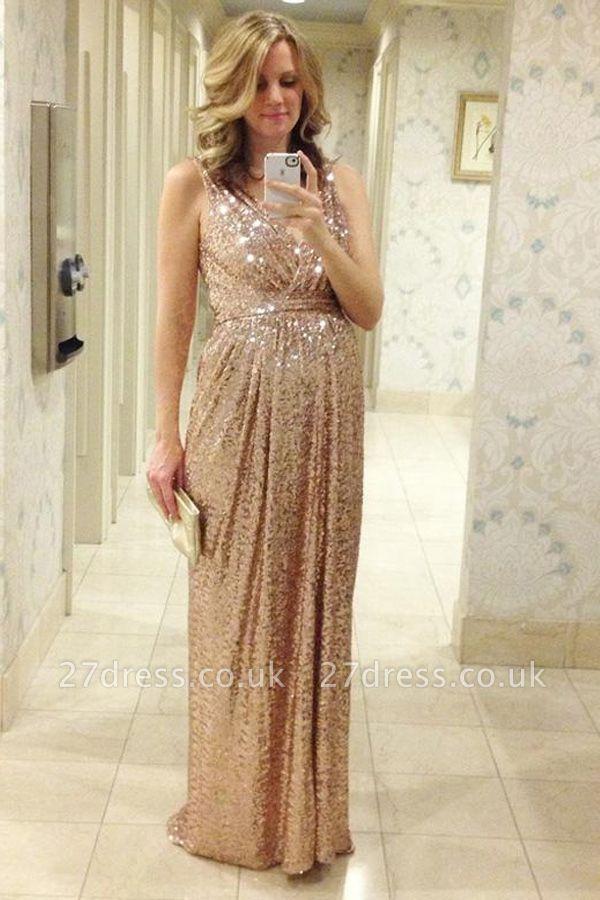 Gorgeous Sequined A-line Maternity Prom Dress UK Straps Sleeveless BO6869
