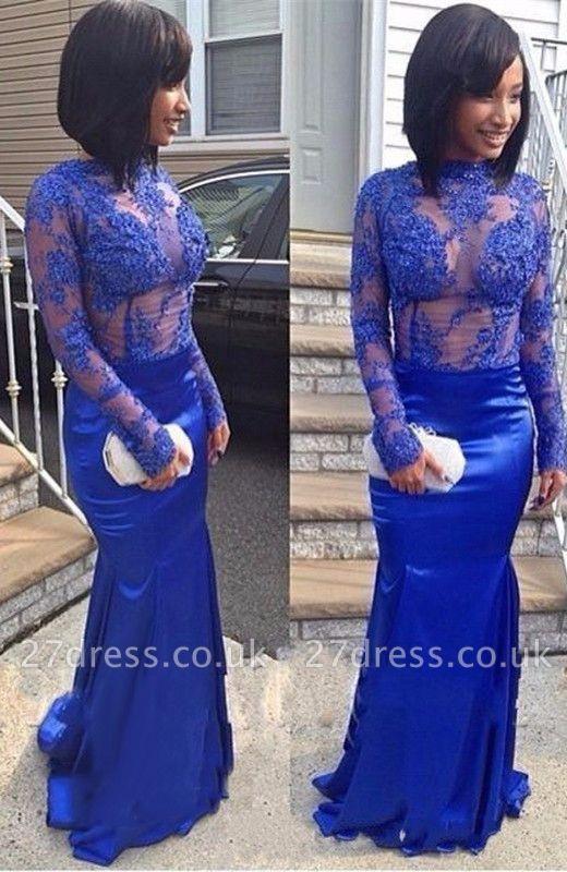 Royal-Blue Mermaid Prom Dress UK | Lace Long Evening Party Dress UK BA8492