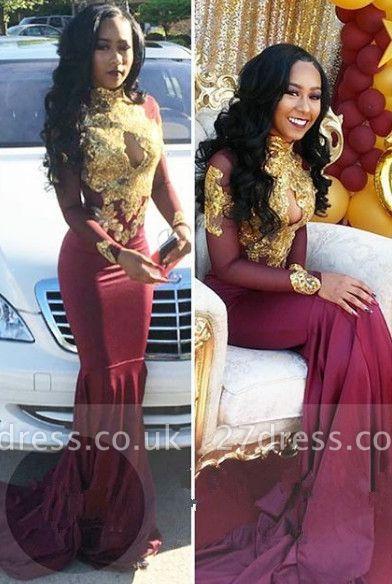 Burgundy long sleeve lace prom Dress UK, mermaid evening gowns BA4987