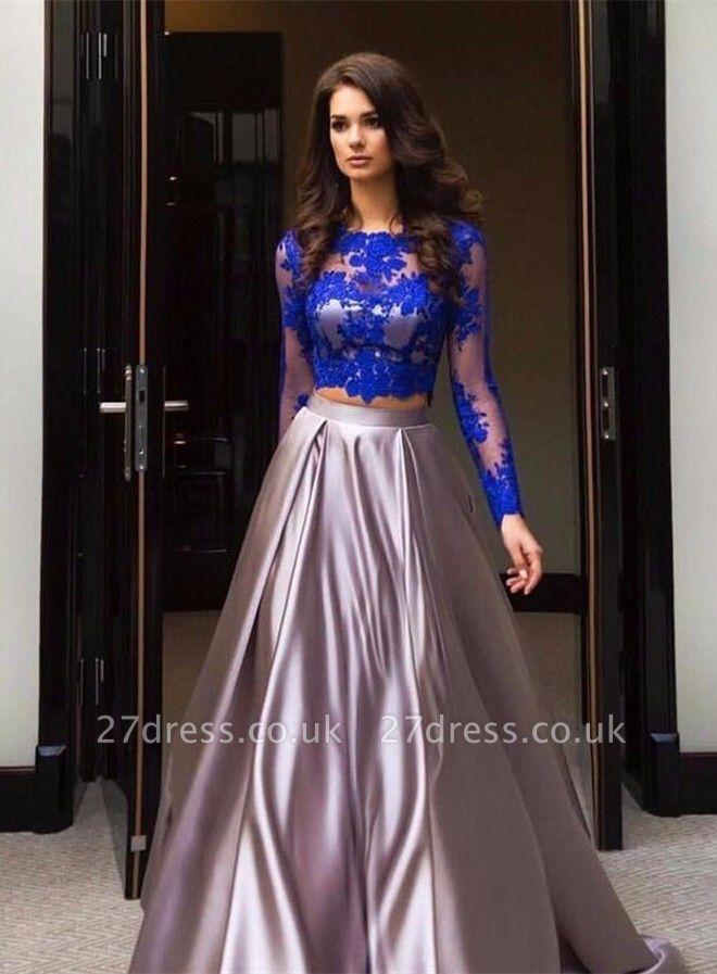 Luxury Two Piece Formal Dress UK Long Sleeve Lace Evening Dress UK