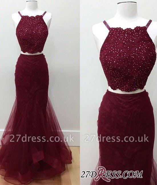 Two-piece Sleeveless Mermaid Spaghetti-strap Beads Elegant Prom Dress UK