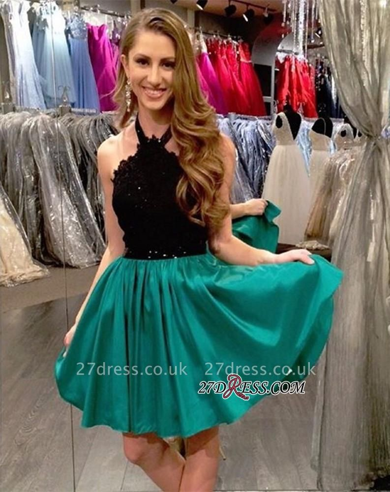 Black Lace Short Mini Sleeveless A-Line Halter Homecoming Dress UK