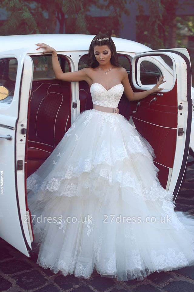 Elegant Sweetheart Tulle Cheap Appliques Wedding Dresses UK Ruffles Bridal ball Gowns with Sash
