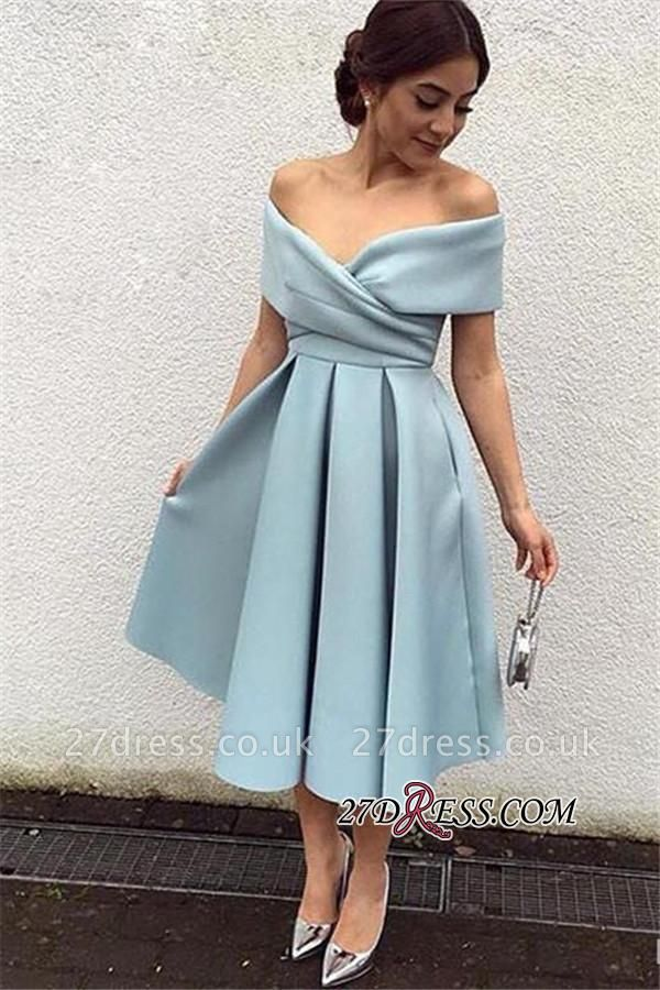 Satin Off-the-shoulder New Tea-Length Sexy Baby-Blue Evening Dress UKes UK BA3994
