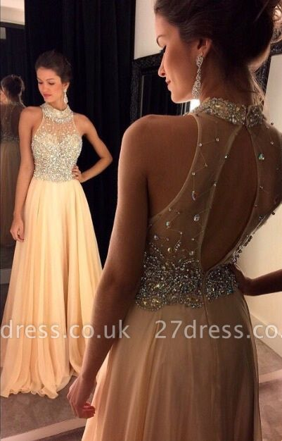 Gorgeous High Neck Beadings Crystals Evening Dress UK A-line Zipper