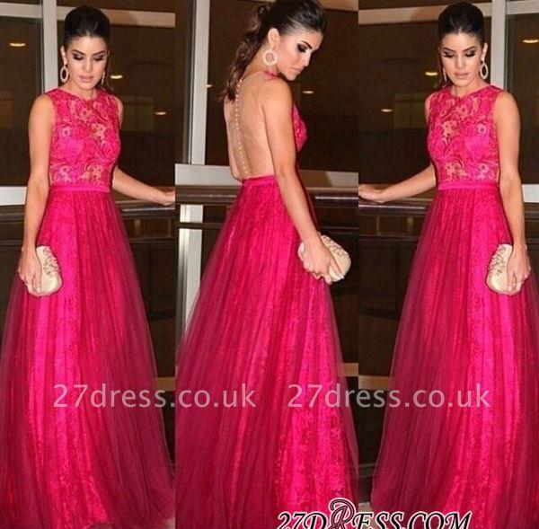 A-line Lace Newest Zipper Jewel Sleeveless Evening Dress UK