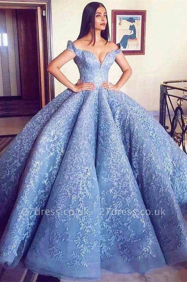 Gorgeous Off-the-Shoulder Ball Gown Evening Prom Dress UK With Lace Appliques BA8309