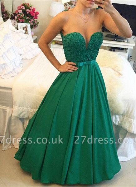Luxury Sleeveless Evening Dress UK Beadings Sweetheart