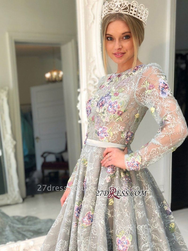 Long Sleeve Lace Evening Gowns | Princess Prom Dress UK