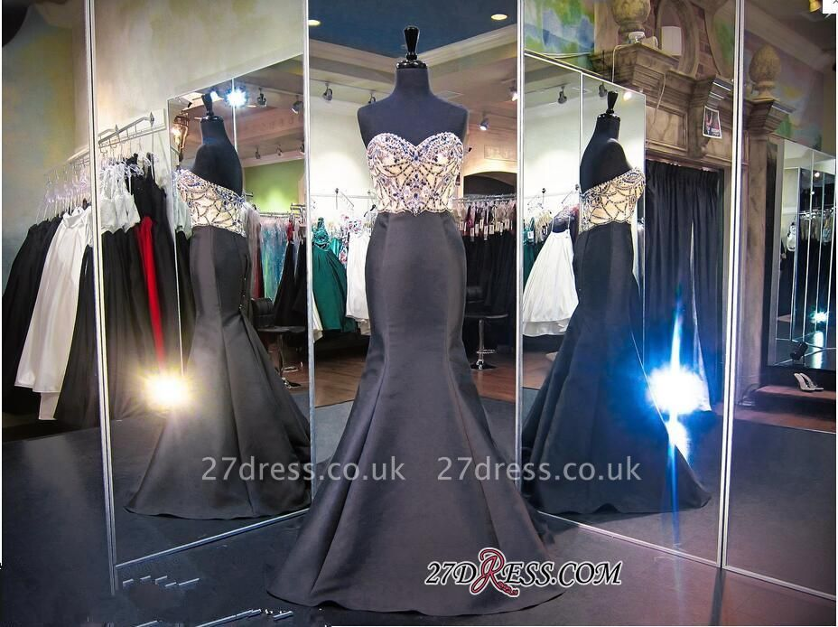 Modern Beads Sweep-Train Sleeveless Sweetheart Mermaid Evening Dress UK
