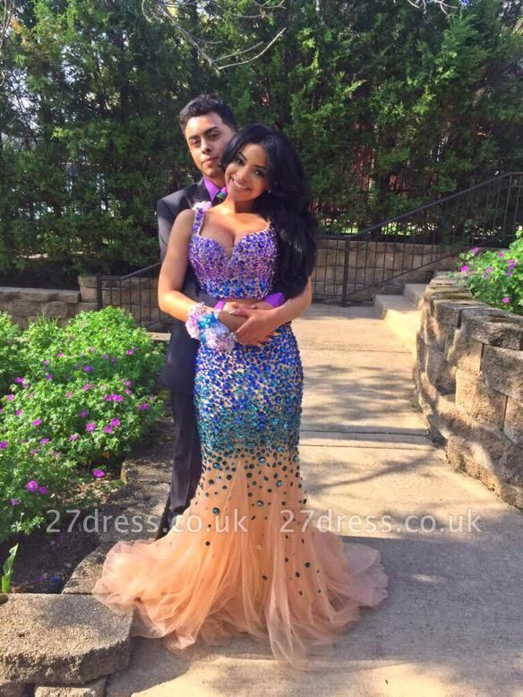 Luxurious Two Pieces Prom Dress UKes UK Mermaid Tulle With Crystals