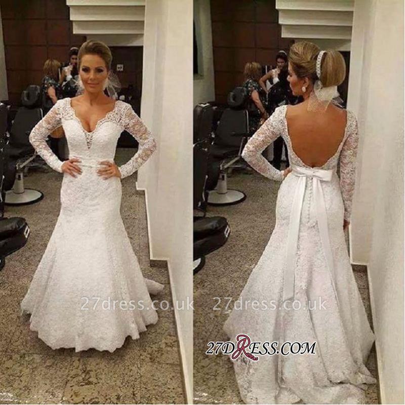 V-neck Sexy Mermaid Backless Long-sleeves Lace Sashes  Wedding Dress