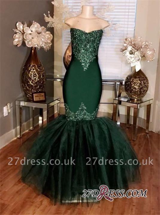 Sweetheart Mermaid Long Prom Appliques Tulle Dress UKes UK Sleeveless cc0014