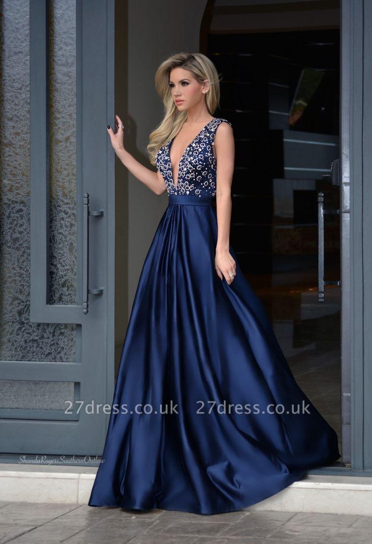 Gorgeous Sleeveless Beadings Evening Dress UK long V-Neck BA7164