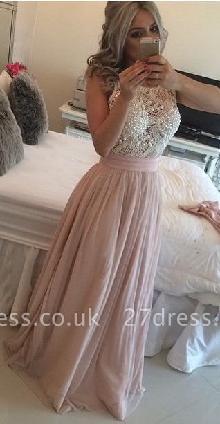 Gorgeous Scoop Sleeveless Pearls Evening Dress UK Long Chiffon BT0