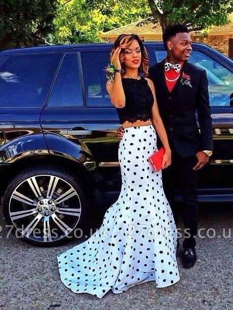 Luxury Two Pieces Prom Dress UKes UK Black Lace Mermaid Dot