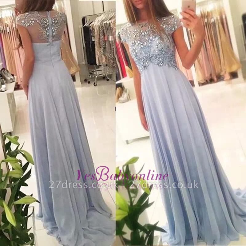 Long Crystals Blue Beading Empire Sparkly Sexy Chiffon Cap-Sleeve Prom Dress UKes UK