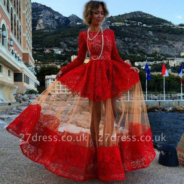 Elegant Bateau Long Sleeve Red Prom Dress UK With Lace BK0